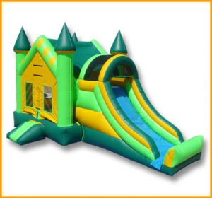 3 in 1 Green Inflatable Castle Combo