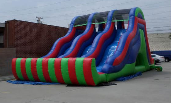 Inflatable 18' Triple Lane Wet and Dry Water Slide