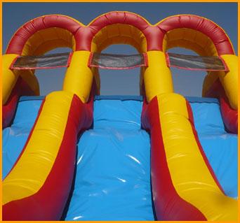 Inflatable 18' Back Load Triple Lane Slide