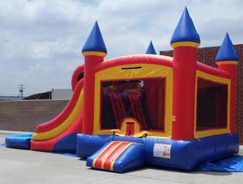 Inflatable Double Lane Wet Dry Castle Combo