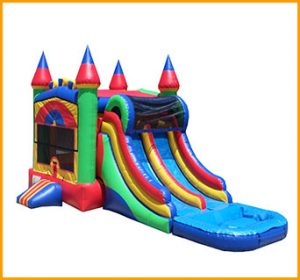 Inflatable Wet/Dry Double Slide Castle Module Combo